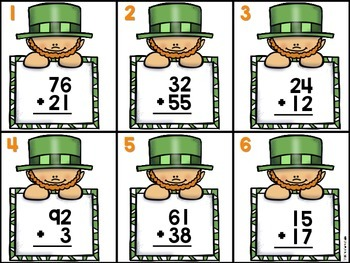 St. Patrick's Day Double Digit Addition