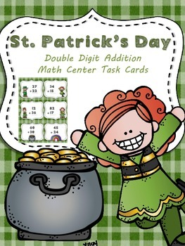 St. Patrick's Day *Double Digit Addition* Scoot or Math Ce