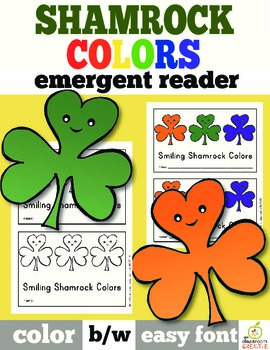 st patrick s day emergent reader shamrock color words tpt