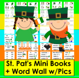 St. Patrick's Day Activities ☘  Mini Books 3 Levels + Word Wall w/Pics