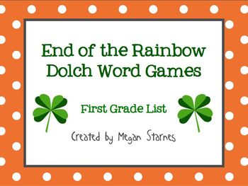 St. Patrick's Day End of the Rainbow Dolch Word Games