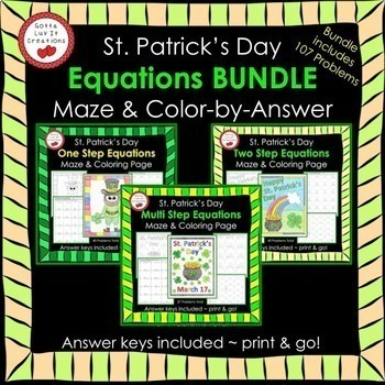 Solving Equations St. Patrick's Day Math Equations Maze Color by Number BUNDLE