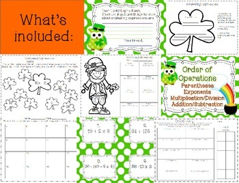 St. Patrick's Day Evaluating Expressions Math and Literacy {Order of Operations}