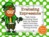 St. Patrick's Day Evaluating Expressions Math and Literacy