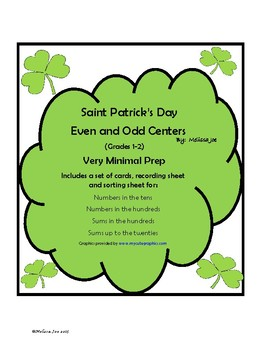 Even and Odd Centers Grades 1-2 Very Minimal Prep St. Patrick's Day Theme