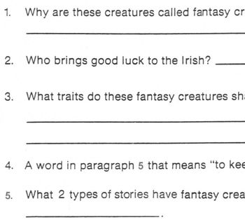 Reading FANTASY/ REALITY:Leprechauns Brownies Unicorns 5 Comprehension Questions