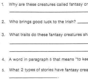 Reading FANTASY/ REALITY: Leprechauns,Unicorns etc. w/ 5 Comprehension Questions