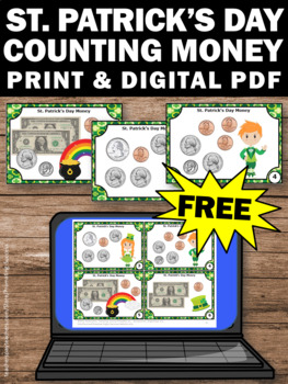FREE St. Patrick's Day Math Activities Counting Money Task Cards Games