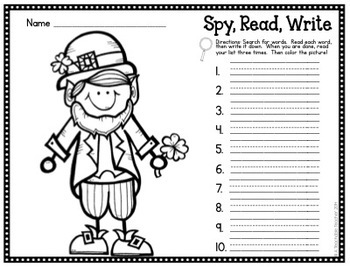 St. Patrick's Day FREEBIE - I Spy CVC Words! {Spy, Read, Write}