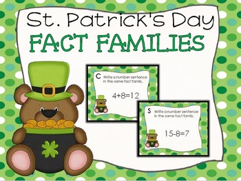 St. Patrick's Day Fact Family Task Cards