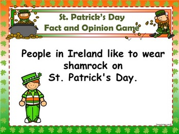 St. Patrick's Day Fact and Opinion PowerPoint Game