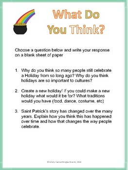 St. Patricks Day Fact sheet and Writing Prompts