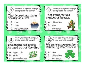 St. Patrick's Day Figurative Language Scoot Game (3-5 grades)