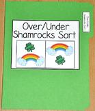 """St. Patrick's Day File Folder Game--""""Over and Under Shamrocks Sort"""""""
