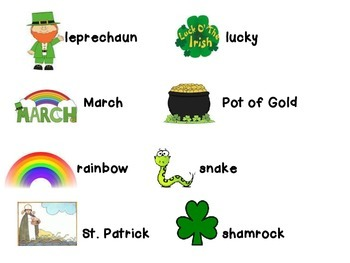 St. Patrick's Day File Folder Word Wall