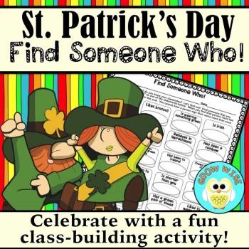"St. Patrick's Day ""Find Someone Who!"" **Newly Updated"
