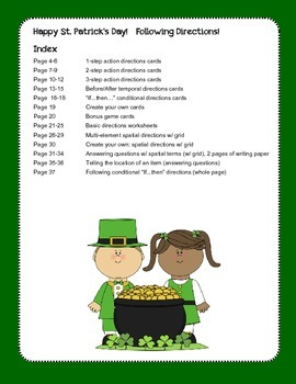 St. Patrick's Day ~ Following Directions!