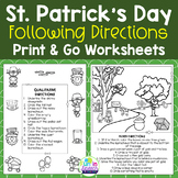 St. Patrick's Day Speech Therapy Worksheets for Following Directions