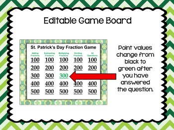St. Patrick's Day Fraction Game - Similar to Jeopardy