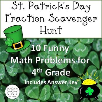 St. Patrick's Day Fraction  Math Scavenger Hunt No Prep