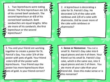 St. Patrick's Day Fraction Task Cards for Comparing/Equivalent Fractions