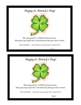 St. Patrick's Day Free Journal Pass
