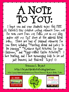 St. Patrick's Day Freebie:  Another Creative Writing Resource for You!