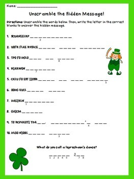 St. Patrick's Day Freebie: Unscramble Activity