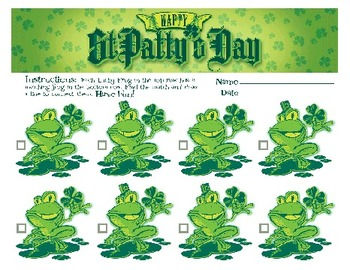 St. Patrick's Day Frog Match Game and Pot Of Gold Alphabet Game