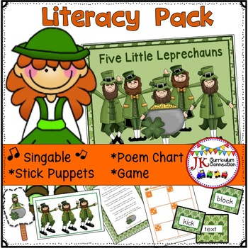 St. Patrick's Day Song! Five Little Leprechauns Song & Literacy Activities