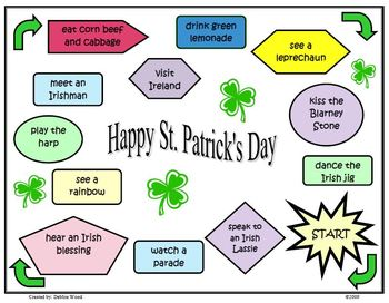 St. Patrick's Day Fun Game Board for Grammar