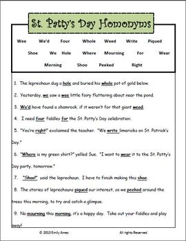 St Patrick's Day Fun:  Homonyms (Grammar Fill-In-the-Blank)