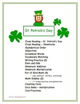 St. Patrick's Day Fun - reading, language arts, and math