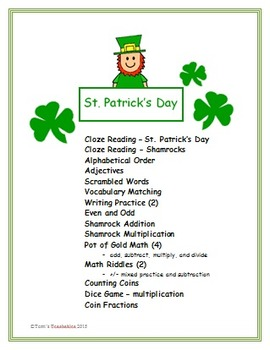 St. Patrick's Day Fun - reading, language arts, and math
