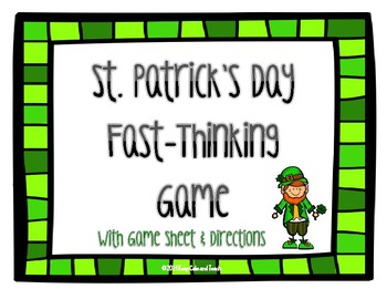 St. Patrick's Day Game: Scattergories Grades 3-12 {Great L