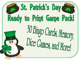 St. Patrick's Day Games - Bingo, Puzzle Activity, and Dice Game