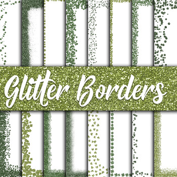 St Patricks Day Glitter Digital Paper Pack - Green Borders - 16 Papers - 12x12