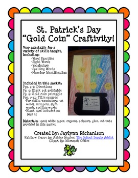 "St. Patrick's Day ""Gold Coin & Rainbow"" Craftivity"