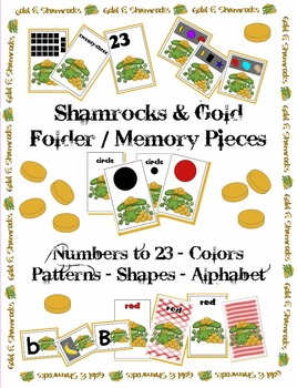 St. Patrick's Day - Gold & Shamrocks Memory Pieces - Colors, Shapes, Number Plus