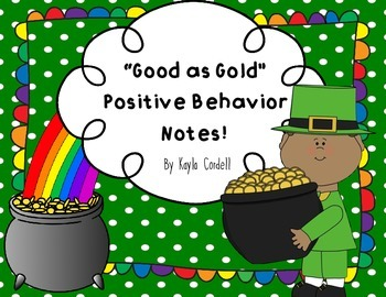 St. Patrick's Day Behavior Notes