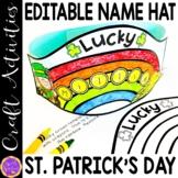 St Patricks Day Name Hat Printable | St. Patrick's Day Editable Practice Hat