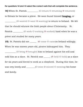 FSA PREP - FSA Reading - 5th and 4th grade - St. Patrick's Day-History-