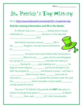 St. Patrick's Day History Websearch