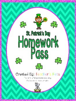 St. Patrick's Day Homework Pass