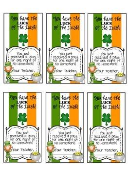 St. Patrick's Day Homework Passes