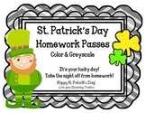 St. Patrick's Day Homework Passes! No Homework tonight!