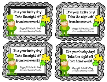 St. Patrick's Day Homework Passes! No Homework tonight!