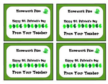 Homework Passes for your little St. Patrick's Day Leprechauns