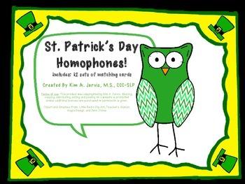 St. Patrick's Day Homophones