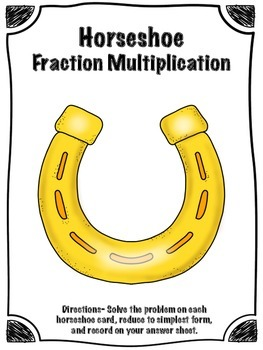 St. Patrick's Day Horseshoe Multiplying Fractions Math Center (Common Core)
